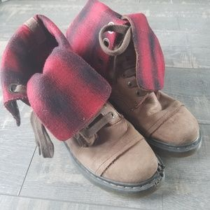 Dr. Marten's Triumph Red Plaid/Brown Boots (Flaw)